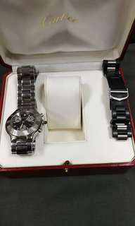 Cartier 21世紀 chrono 石英錶連原裝皮帶8成新