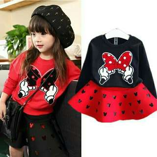 *FREE DELIVERY to WM only / Ready stock* Kids Minnie set sweater & skirt each as shown in design/color red top. Free delivery is applied for this item.