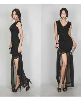 Black Overlay Lace Elegant Dress PRE Order