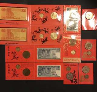 Singapore 🇸🇬 Assorted Banknotes, Coins & Medallions Sets.