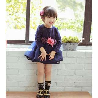 *FREE DELIVERY to WM only / Ready stock* Kids long sleeves dress size 90 as shown design/color navy blue. Free delivery applied for this item.
