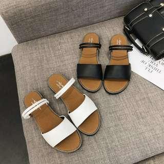 簡單好搭💕💕韓系簡約休閒百搭雙繫帶皮革兩穿釦環平底涼鞋 繫帶涼鞋