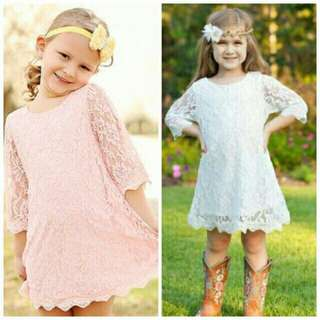 *FREE DELIVERY to WM only / Ready stock* Kids lace dress each as shown design/color pink, white. Free delivery applied for this item.