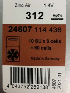 Hearing aid batteries zinc air size 312. From Germany 1 box of 10 packs, 6 Pcs in a pack