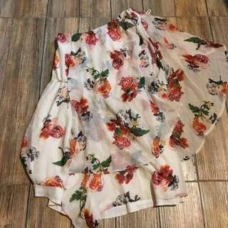 off shoulder floral jumper dress