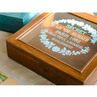 🚚 zakka 生活雜貨 印花 鄉村風 單層 單格 咖啡色 深木色 原木收納盒 桌上收納整理盒 OLA14D4