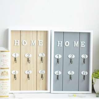 🚚 zakka生活雜貨 淺木色 灰色 粉紅色 藍色 HOME 原木 鑰匙櫃 壁掛鑰匙櫃 鑰匙收納盒 OLA03C1