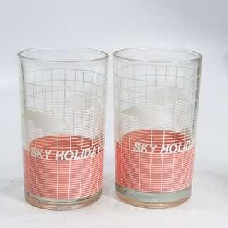 懷舊  70 80年代  玻璃水杯2只
