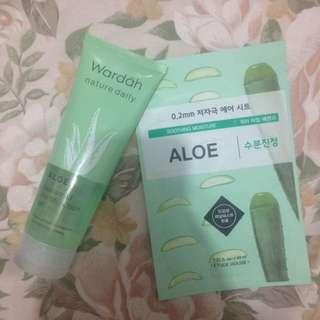 Paket aloevera (dapet 1 wardah aloevera gel & etude sheet mask)