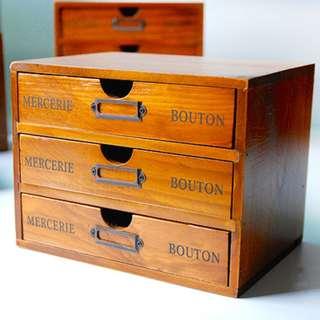 🚚 zakka 生活雜貨 抽屜木櫃 三格 三層 3格 3層 單格木盒收納 收納櫃 展示櫃 原木 OBO08D5