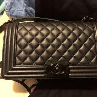 """黑色菱格 BOY Chanel手袋 25"""""""