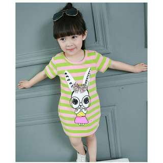 *FREE DELIVERY to WM only / Ready stock* Kids bunny stripes dress each as shown design/color. Free delivery applied for this item.