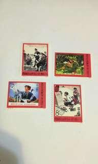 中國郵票 批林批孔運動 一套4枚
