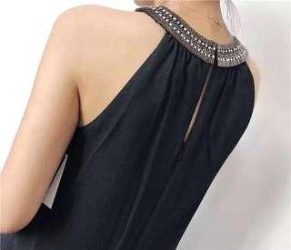 🚚 OshareGirl 03 美單高端大氣鑽飾繞脖露肩洋裝連身裙