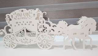 Rental wedding display horse carriage whimsical style