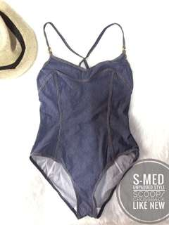 Denim Swimwear swimsuit onepiece one piece 1pc 1 pc