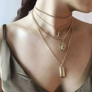 Religious Virgin Mary gold necklaces