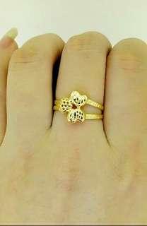 Authentic 18k saudi gold ring heart design