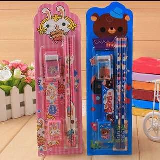 ~ Pre order ~ 5 pcs cartoon pen eraser set stationery gift school supplies ~ PO~