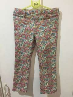 Zara denim floral pants