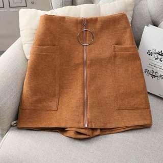 ❤️️ Skort skirt pants high waist skirt pants with metal ring and zipper front