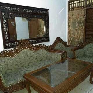 Sofa dan meja kayu jati asli