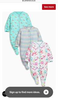 Next UK baby sleepsuits 3-6mo