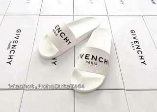 (价格私询)GVC 乳白色字母拖鞋