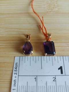 一手兩個 紫晶商14k金 吊咀 :8×6mm 長方形及8×6mm 梨型,共售600元,單個350元