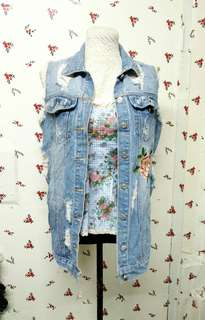 Tattered Denim Vest with Embroidered Rose