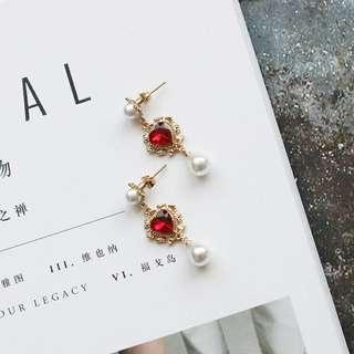 Baroque red rhinestone pearl earrings