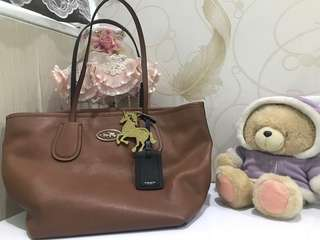 Coach Handbag Authentic Coach Tote Bag Sadle Brown 33577