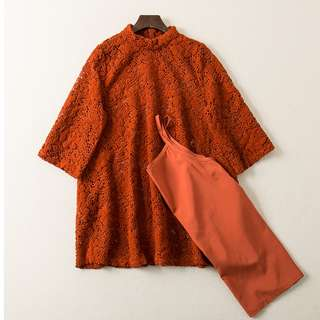 ❤️️ Crochet Lace Top Dress with Inner orange Blouse