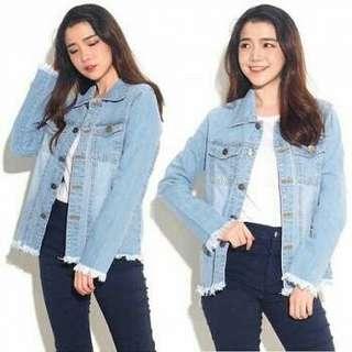 CR Jaket chloe fringe (muda) 115.000 Bahan jeans washed model rawis fit to XL (replika bershka ada label bershka d baju)