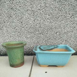 【LoveloVe】台灣早期磚胎綠釉圓形+藍釉長方形老花盆共2個