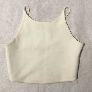 #014 zara white chiffon crop sleeveless top