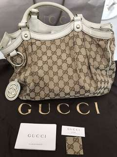 Authentic Gucci Sukey GG Canvas and Ivory Leather Tote