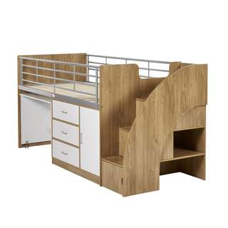 Bilby Kids Bunk Bed & Cabinet - White/Oak