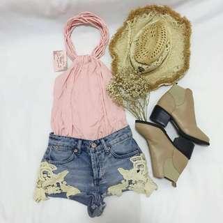 *BNWT* Vogue Baby Pink Halter Strings Top