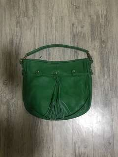 Green pure leather bag