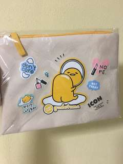 Last 1! Sealed Instock authentic Holika holika gudetama series out of Print OOP canvas beauty makeup pouch zip case