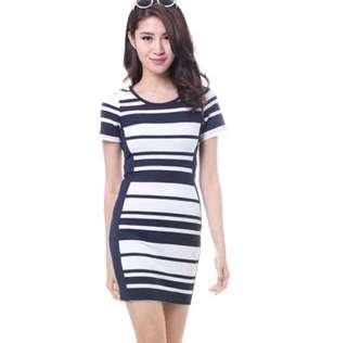 MDS Horizontal Stripes Dress - Navy
