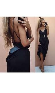 Sabo Skirt - Black silky backless maxi formal dress
