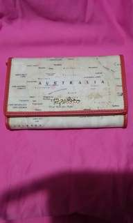 Paprika black label wallet 女裝多層地圖圖案橙色真皮包邊 短銀包