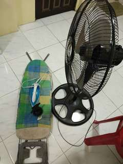 Electricfan, iron/plantsa or scaffolding,and water spray