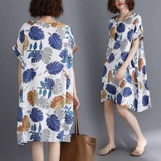 Plus Size Loose printed cotton and linen short-sleeved long dress