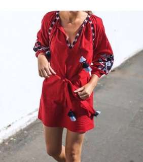 SEED Womens Red Smock Embroidered Tassel Dress M