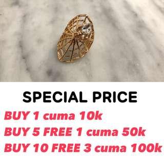 NEW KOREA SPIDER WEB DIAMOND RING CINCIN LABA PEARL GOLD EMAS