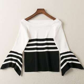 ❤️️ Flare sleeve bell sleeve knitted stripe blouse monochrome