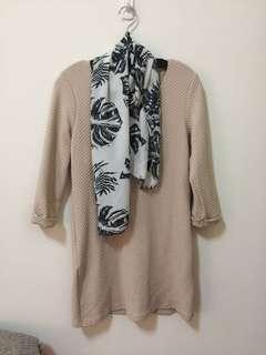 氣質長版上衣(附絲巾)
